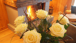 Flowers by the fireside